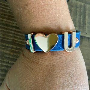BCBGenerations blue leather & rose gold bracelet